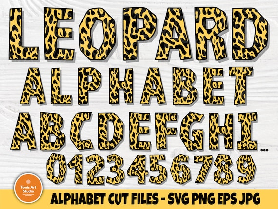 Leopard Font SVG, Alphabet Letters and Numbers Svg