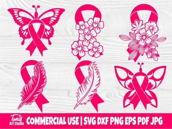 Feather Pink Ribbon SVG, Breast Cancer Svg, Strong Woman Svg, Pink Butterfly Svg, Awareness Ribbon Svg, Ribbon Flower Svg, Hope Svg, Eps Dxf