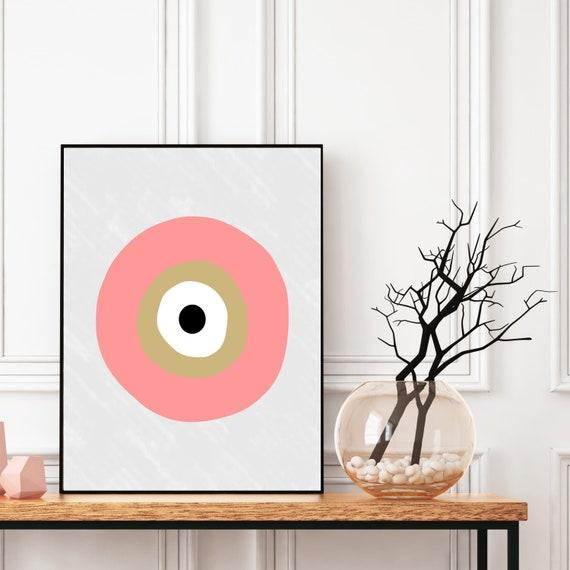 Evil Eye Print, Boho Wall Art, Digital Download, Meditation Decor, Greek Evil Eye, Ethnic Protection Symbol, Lucky Charm Pattern.