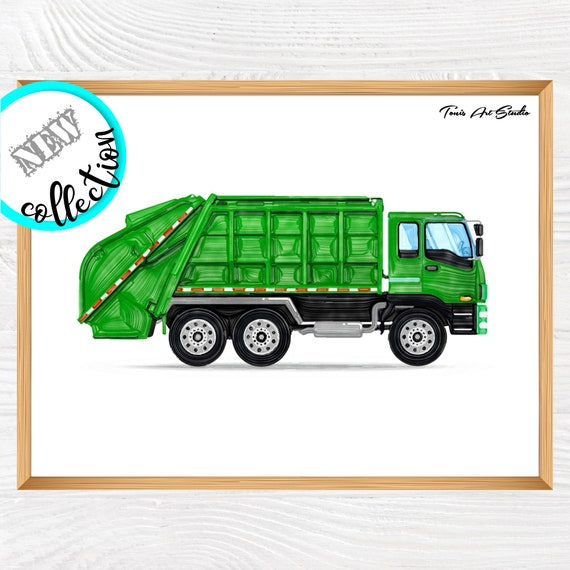 Garbage truck wall decor | Transportation print | Truck watercolor | Green vehicle art | Truck printable | Truck birthday party | Digital