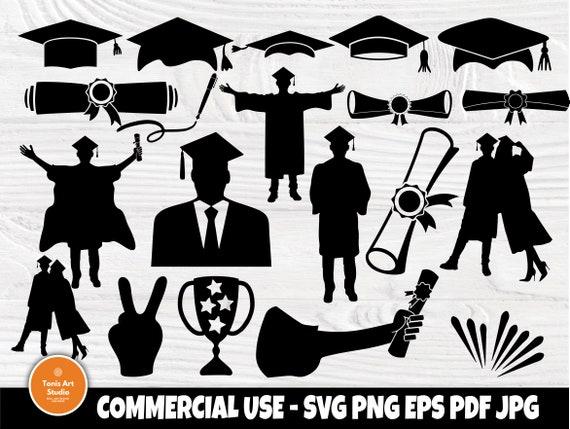 Graduation Cap SVG, Graduation Clipart, Silhouette