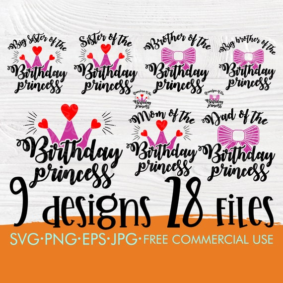 Birthday princess SVG | Princess bundle svg | Mom and dad svg | Birthday girl svg | Princess family svg | Princess cut files | Cricut file