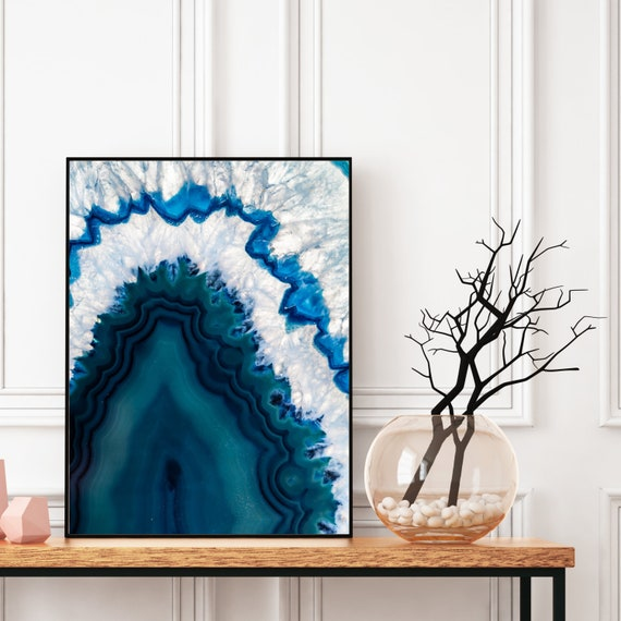 Agate Wall Art, Digital Download, Natural Agate Photography Print, Blue Art, Modern Art, Abstract Wall Art, Colourful art, Geode Poster.