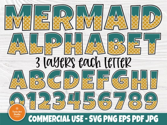 Mermaid Font SVG, Alphabet Clipart, Girl Letters