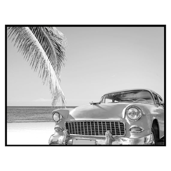 Vintage Car on the Beach Print Black and White, Digital Download, Tropical Wall Art, Retro Decor, Travel Photography, Digital Download.