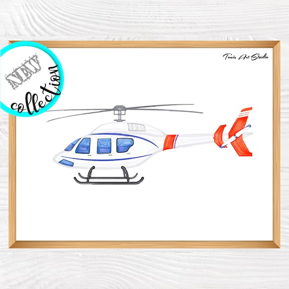 Rescue helicopter watercolor | Helicopter decor | Printable art | Helicopter wall art | Transportation | Kid bedroom art | Classroom decor