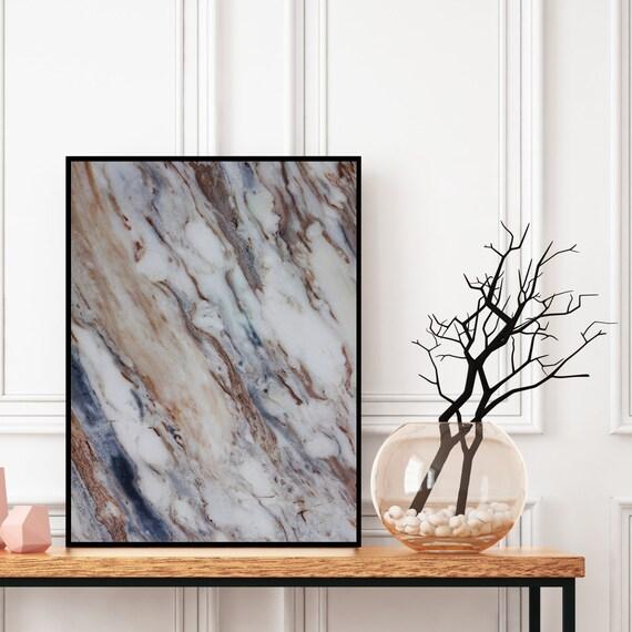 Geode Wall Art, Grey Blue and Gold Marble Decor Print, Digital Download, Elegant Modern Art, Granite Wall Art, Agate Wall Art, Marble Print.