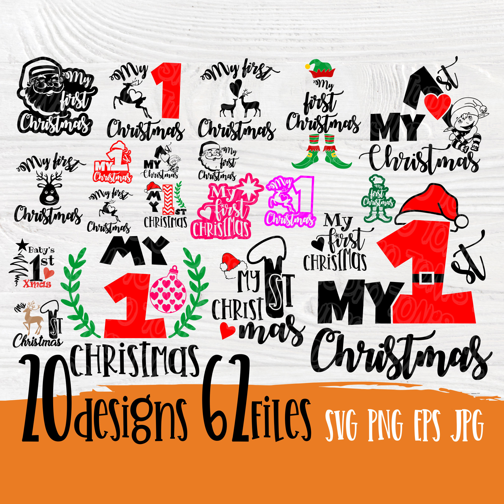 My First Christmas Svg Svg Bundle My 1st Christmas Christmas Svg Cricut And Silhouette Cut Files Cutting Files Svg Designs
