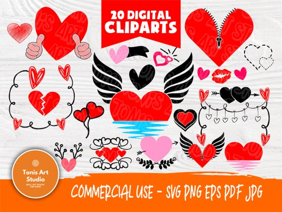 Heart SVG Bundle   Heart Svg   Heart Clipart   Valentines Day   Love Svg   Heart Cut File   Cut Files for Crafters   Cricut and Silhouette