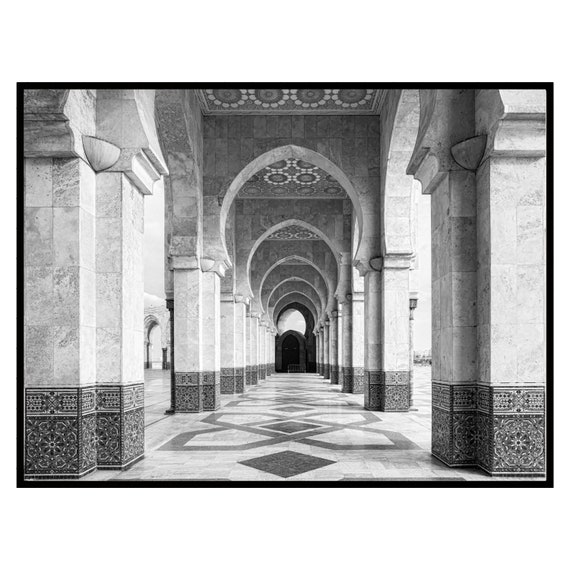Moroccan decor Black and White Printable, Boho Decor, Architecture print, Large wall art, Travel photography Decor, Digital Download..