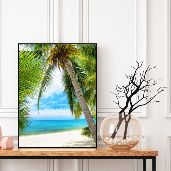 Tropical Beach Print, Digital Download, Coastal Tropical Wall Art Decor, Boho Wall Art, Travel Photography Decor, Palm Trees Poster.