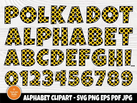 Polka Dot Alphabet SVG, Font Svg, Letters Cut File
