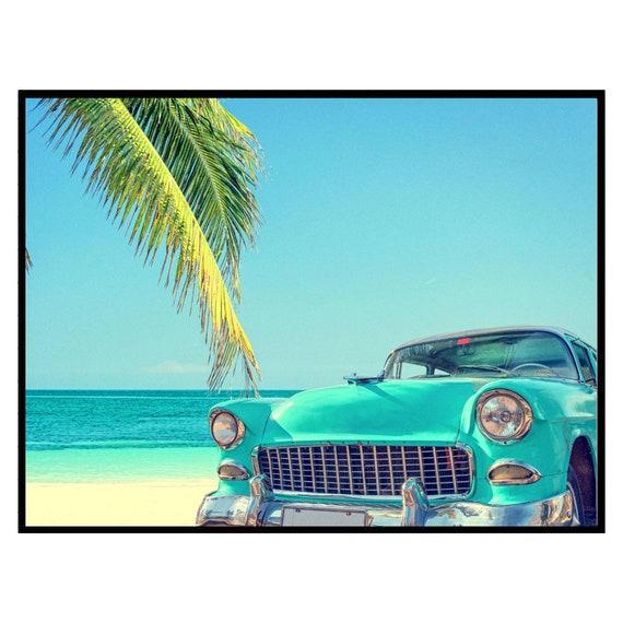 Vintage Car on the Beach Print, Digital Download, Coastal Tropical Wall Art, Retro Decor, travel Photography Poster, Boho Decor Printable.