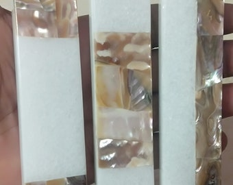 White Marble / Mother of pearl Long Drawer Handles / Pulls //Cabinets
