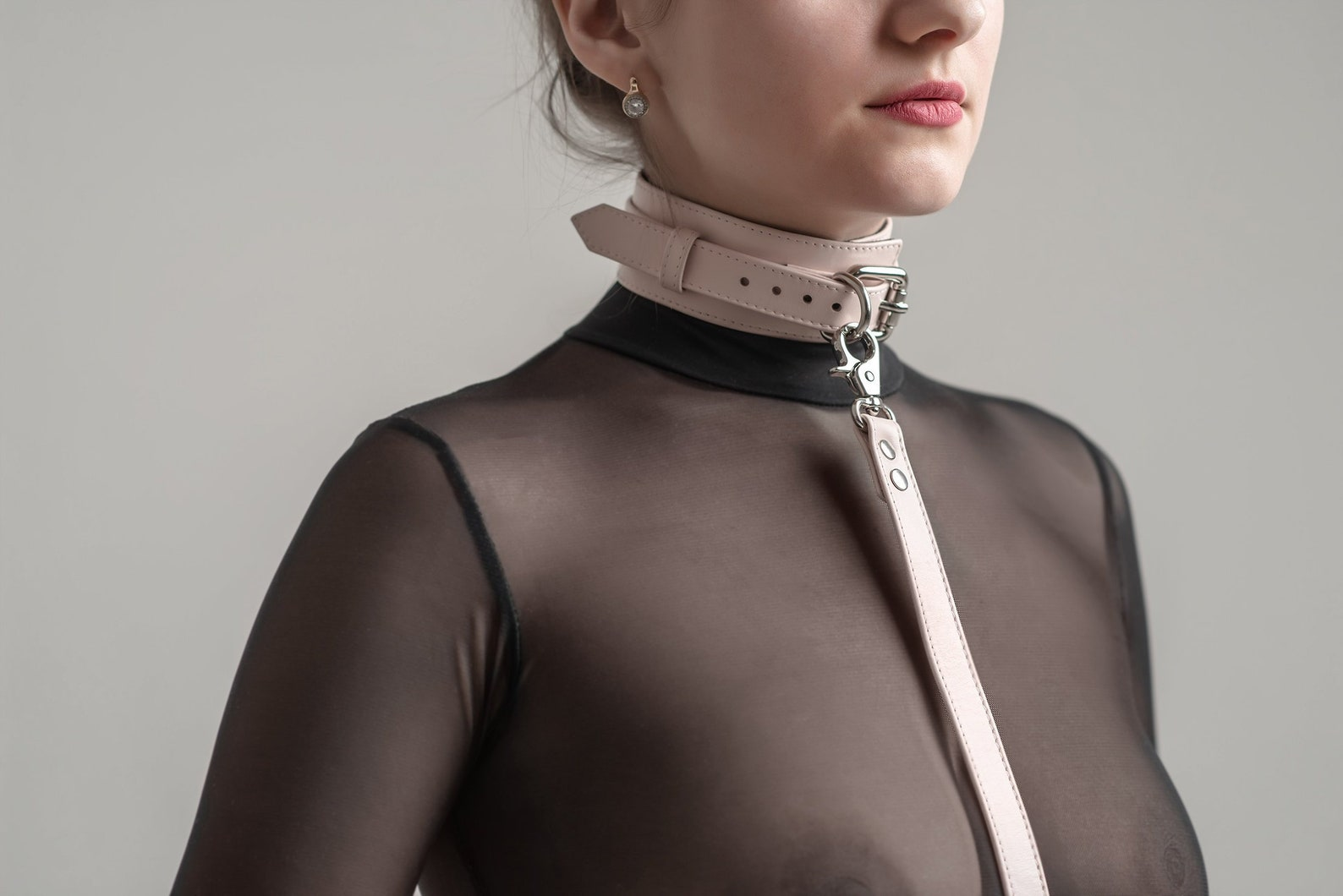 Black Leather Bdsm Collar D Ring Bondage Collar Mature Slave
