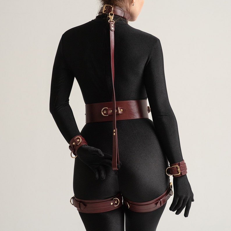 Red Leather Halter Many Ring Slave Collar