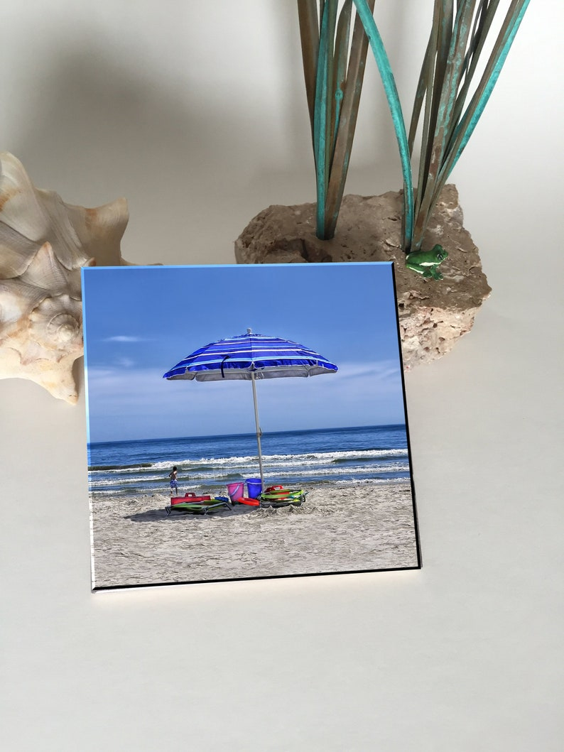 Beach Umbrells Ceramic Coaster image 0