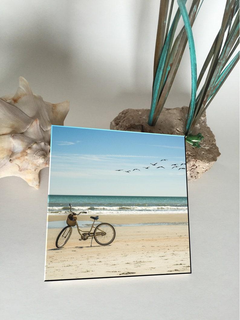 Ceramic Coaster Bicycle on the Beach image 0