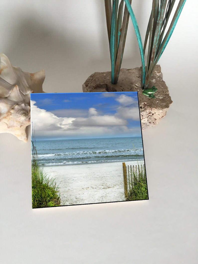 Entrance to the Beach Ceramic Coaster image 0