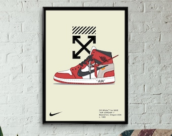 online store bdd0a f71d5 Custom Jordan 1, Off White Wall Art, Hypebeast Poster, Streetwear Poster,  Sneaker Poster, Wall Art, A3, A2, A1