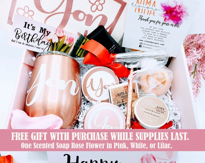 Birthday Gift Box For Her, Birthday Gift Box for Women, Birthday Gift, Friend Gift, Personalized Wine Tumbler Gift Set, Friend Birthday Gift