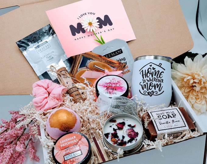 Mothers Day Gift Box, Gift Box for Women, Birthday Gift Box for Her, Spa Gift Basket Friend, New Mom Gift Basket, Pregnancy Gift -MDGB002