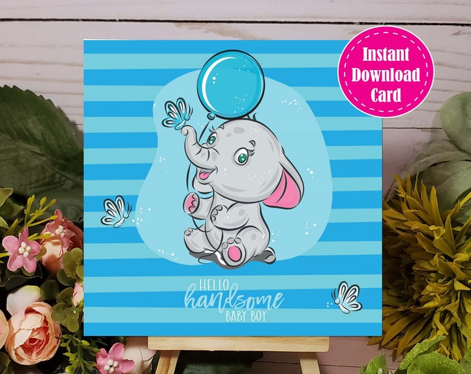 Printable Elephant Baby Shower Welcome Baby Boy Card, Instant Download Baby Shower Card for Girl or Boy, New Baby Card Printable, Newborn