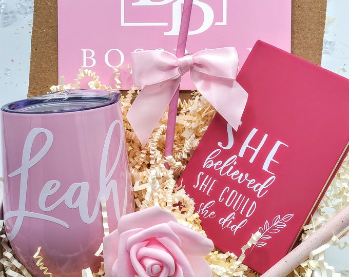 Boss Babe Promotion Gift Box, Coworker Gift, New Job Gift, Promotion Gift, Promotion, Congratulations, Personalized Wine Tumbler - PGB21007