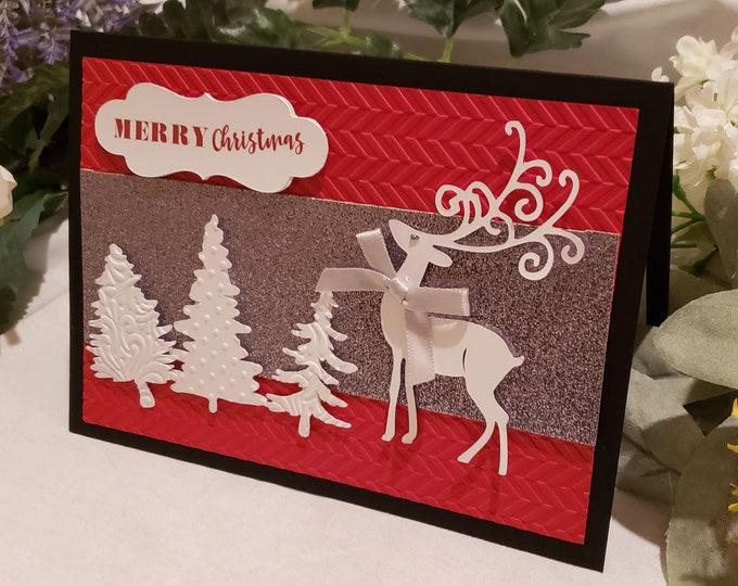 Christmas Card with Reindeer and Christmas Trees, Handmade Set of 6 Christmas Cards