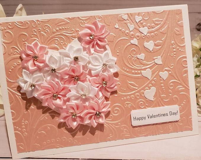 Valentines Day Flower Heart Card, Valentines Day Card, Happy Valentines Day, Anniversary Card, Birthday Card, Happy Birthday Card, Love Card