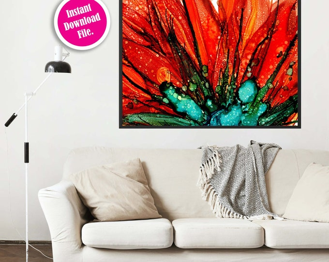 Orange and Teal Prints, Instant Download Abstract Art Print, Downloadable Wall Art, Printable Art