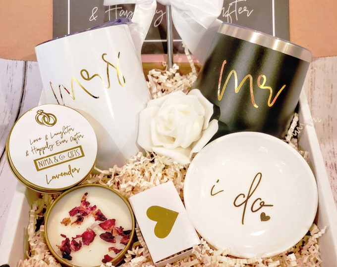 Couples Engagement Gift Box For Bride & Groom, Engaged Gift, Congrats Engaged, Happily Ever After, Congratulations, Mr and Mrs Gifts-EGFC002