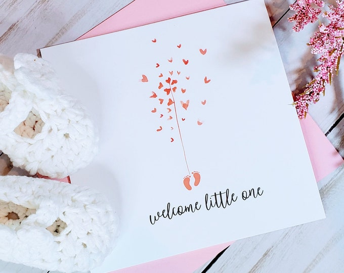Welcome Baby Card, Baby Shower Card, Baby Girl, Birth Card, New Baby Card, Handmade Baby Card, Personalized Cards
