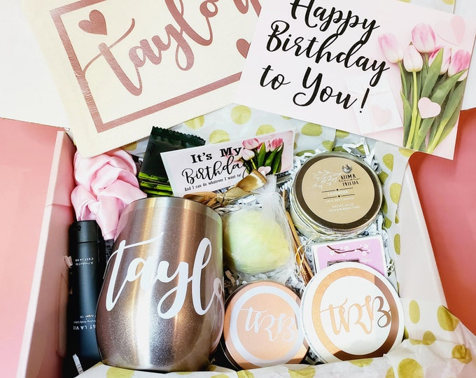 Best Friend Gifts - Spa Gift Basket, Personalized Gift, Wine Tumbler, Birthday Gift Box for Women, Bridesmaid Gifts