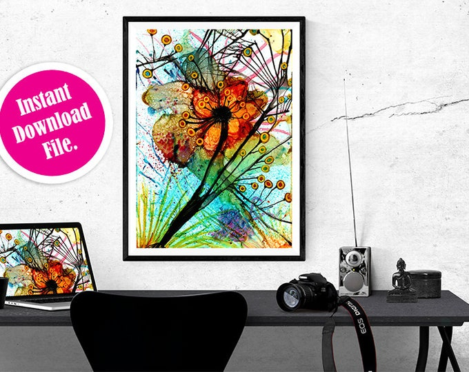 Alcohol Ink Art Instant Download,  Printable Abstract Painting, Downloadable Print of Floral Wall Art, Abstract Wall Art