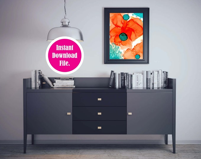Instant Download Abstract Art Print, Downloadable Wall Art, Orange and Teal Printable Art Prints
