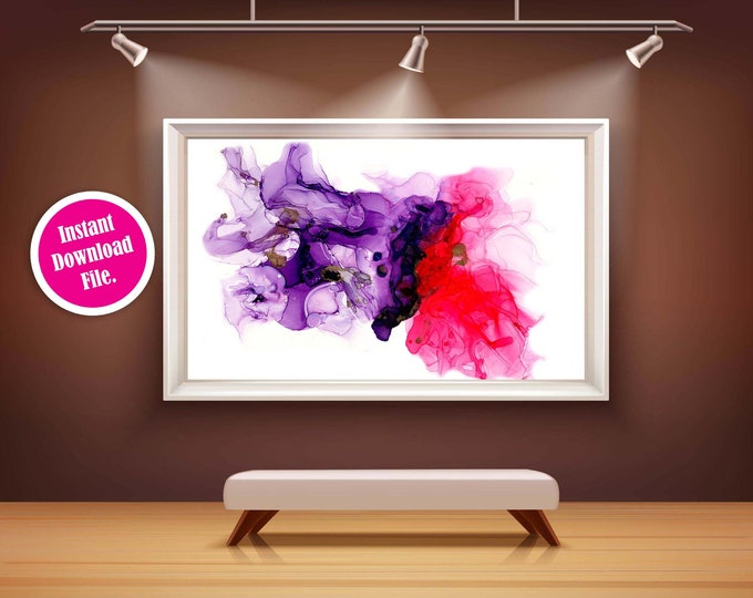 Pink and Purple Abstract Printable Wall Art, Modern Wall Art, Instant Download Floral Wall Art