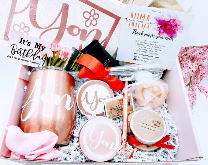 Birthday Gift Box for Women, Birthday Gift, Friend Gift, Personalized Wine Tumbler Gift Set, Birthday Gift Box For Her, Friend Birthday Gift