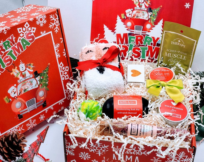 Christmas Gift Box for Women, Personalized Spa Gift Set, Christmas Gift Basket, Christmas Gifts Ideas, Christmas Gift Set for Women - CSB19