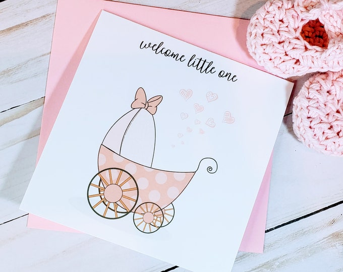 Welcome Baby Girl Card for Baby Shower, New Baby, Newborn, Personalized Cards, Baby Girl, Welcome Little One, Hello World,
