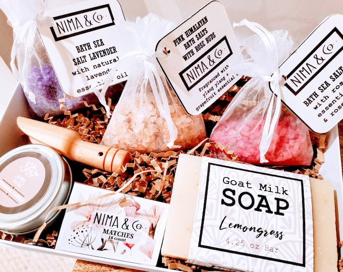 Thinking of You Spa Gift Set for Women, Birthday Box for Her, Personalized Gift Box for Women, Mom Gift, Bath Salts Gift Set - BSS01