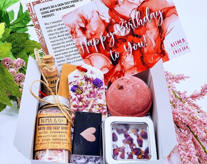 Rose Scent Spa Gift Set, Birthday Spa Gift Box for Her, Gift Set for Women, Mom Gift, Gift Box, Spa Gift Basket - SBGB018
