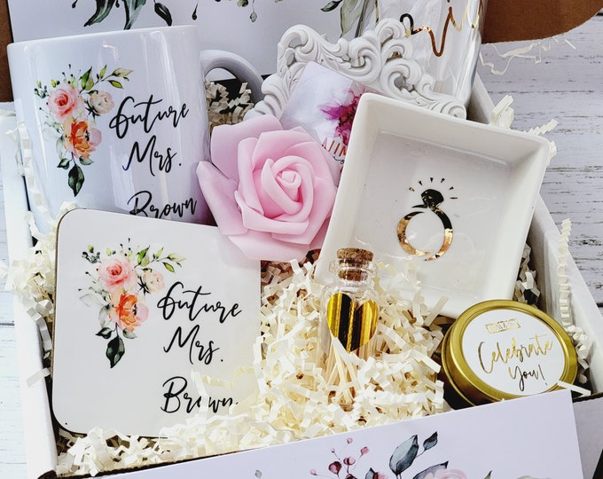 Personalized Bride Gift Box Set, Future Mrs Mug, Engagement Gift, Bride Engagement Gift Box, Champagne Flute Bride To Be, Engaged Idea- BG03