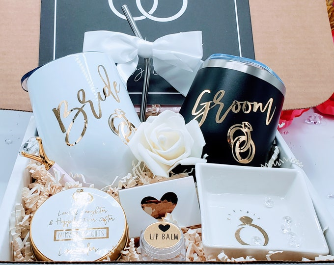 Bride and Groom Engagement gift box, His and Her Tumbler, His and Her Ring Dish, Couples Engagement Gift, Bride and Groom gift-EGFC002
