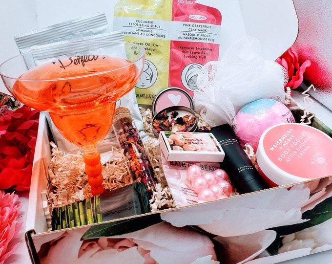 Margarita & Spa Best Friend Gifts Box, Birthday Gift Box for Women, Birthday Gifts For Her, Spa Birthday Basket For Friend- MDGB016