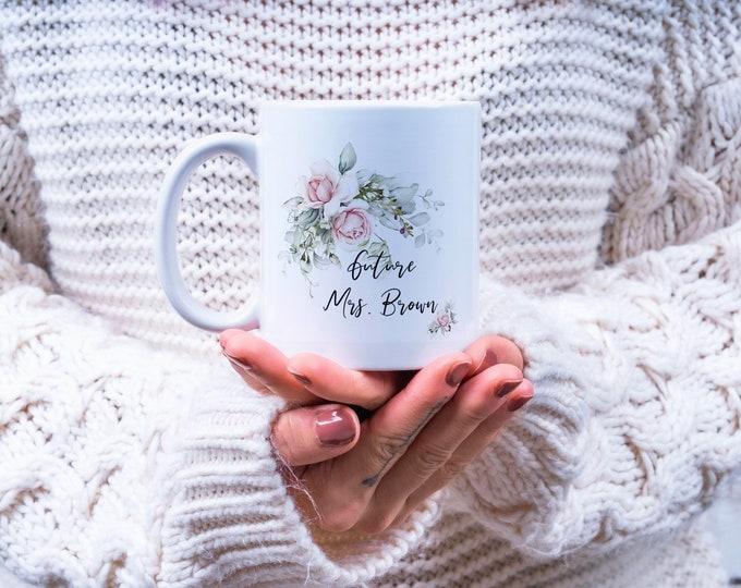 Personalized Coffee Mug, Bride To Be Gift, Personalized Name Coffee Cup, Initial Mug, Initial with Flowers Mug, Gift - BTBMB02