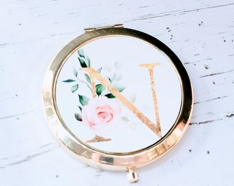 Rose Gold Compact Mirror, Personalized Gold Bridesmaid Compact Mirror, Monogram Pocket Mirror, Bridesmaid Proposal Gift, Bridesmaid Gift