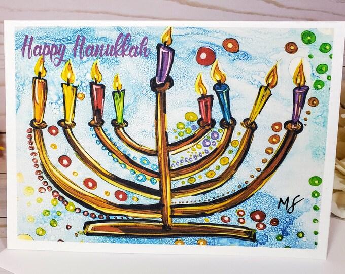 Hand Painted Happy Hanukkah Menorah Card | Boxed Set of 6 | Chanukkah Cards | Hanukkah Cards | NIMA Gifts Co | Jewish Greeting Card