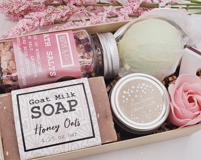 Spa Gifts For Her Bath Salts Gift Set, Birthday Gift Box for Women, Spa Kits Gifts Box, Spa Gift Set for Women Birthday, NIMA Gifts - VDGB05