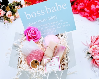 Boss Babe Relaxation Bath Gift Set Promotion Gift Box, Gifts for Coworkers, New Job Gift, Promotion Gift, Congratulations - PGB21007